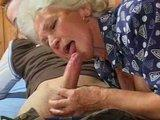 Blond babcia ssa kielbase /  Granny Is Eating Sausage