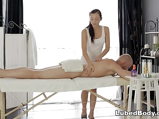 Ukrainian Anita Sparkle enjoys massage