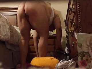 Wife putting on panties before sex