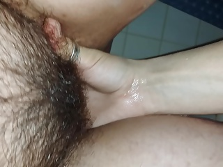 Fingering Hariry Pussy and Squirting in Hotel Bathroom
