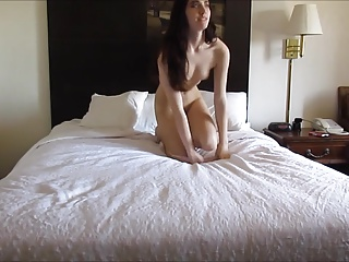 Hot college babe sucks dick and gets fucked by hairy guy