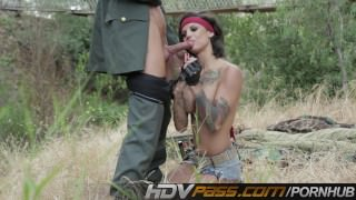 HDVPass Tatted Babe Bonnie Rotten Rides Huge Cock Outdoors