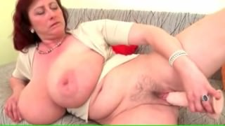 Hot Mature Mom with Massive tits plays with Herself