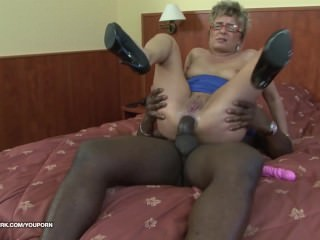 Grandpa with glasses first time anal fucked by black cock hard interracial