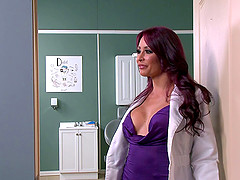 Inked nurse MILF fucks a seriously hung dude in the hospital