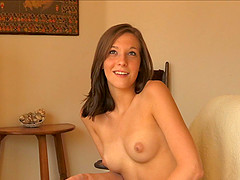 Beautiful Molly gets out her vibrator and presses it against her clit