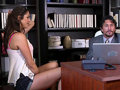 Her meeting with her professor ends with him fucking her on his desk