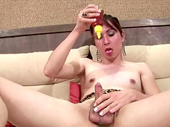 Honey is a sticky and sexy lube for her tranny asshole