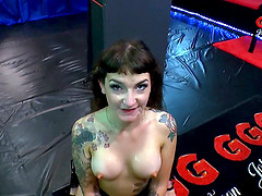 Dirty tattooed whore fucked in all holes and covered in cum