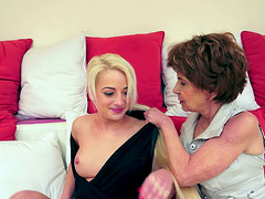 A granny seduces a younger chick for some hot lesbian action