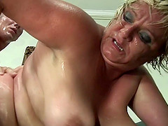 Horny granny breaks a sweat on her much younger stud's cock