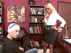 Nina Elle gives a titjob to Danny D before they have rear banging