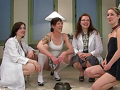 Three horny nurses are going to humiliate this chick