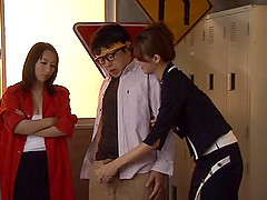Two slim Japanese cuties share a wang in hardcore FFM clip