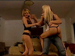 Bisexual blondes sharing a long cock while pleasing each other