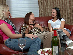 Lesbians in jeans having an awesome threesome action in this cute clip