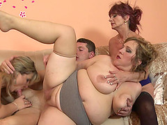 Three lovely mature women all want to have his dick inside them
