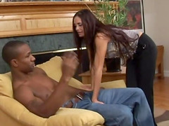 Long haired bitch takes cum in her mouth after being screwed by a big black cock