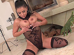 Vixenish brunette in sexy nylon stocking gets her shaved pussy drilled hardcore
