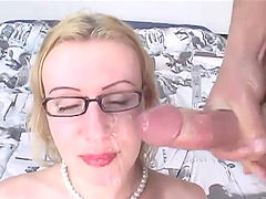 Cougar in glasses gets facial cumshot after getting nailed Hardcore