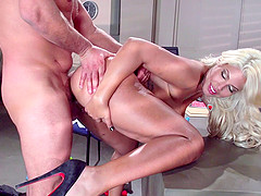 Luscious blonde office lady tit fucked and slammed doggystyle