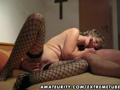 Mature and busty amateur wife blowjob with anal creampie