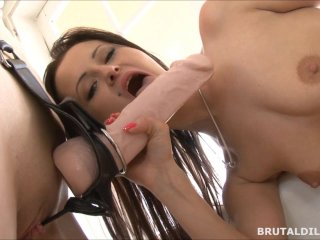 Pierced brunette Bella fucked hard by friend with brutal dildos