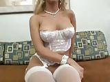 Sex blondynka w ponczochach