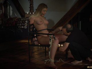 Extremely cunt punishment for bondage blonde with big tits