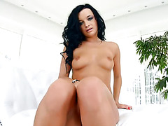 Raven haired sexy bitch with red nails Daphne Klyde blows hard penis of her fellow after stout solo