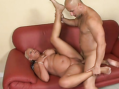 This old whore's pussy is glued to this young man's cock
