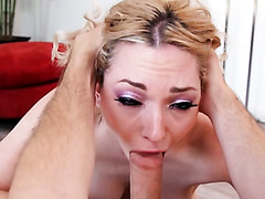 Blond haired spoiled filth Lily Labeau gives steamy sloppy DT to her stud