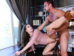 Bootyful brunette filth Cassidy Klein got her twat stretched in doggy and face to face poses tough