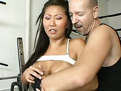 Exotic babe Beti Hana gets her twat rammed by brutal trainer