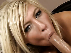 Well shaped blond filth pleasures horny Mike Hunt with solid blowjob