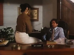 Mega busty mature secretary Candy Samples masturbates at her work place