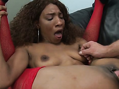 Curly haired black hooker in red fishnets gets her cooch banged with big white cock tough