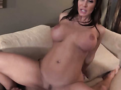 Luscious raven haired mommy shares hard dick with young four eyed naughty kooky