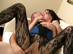 Big assed brunette bitch in slutty stockings Cytherea gets her kitty nailed in various styles hard