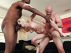 Skinny blonde hoe with small titties is boned hard in MMF threesome