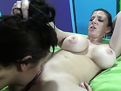 Hussy lesbian chicks lick slits and get fucked hard