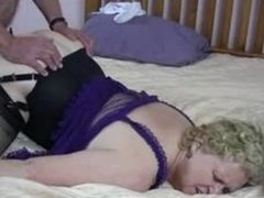 Horny granny fucks with three guys in the motel room. Threesome