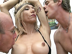 Gangbang sex tape with a lustful tattooed blonde milf