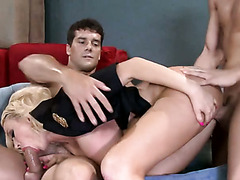 Super busty blond mommy gets double team fucked by 2 horny guys