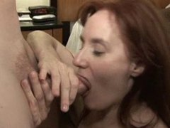 Redhead MILF fucks her lover. Horny bitch likes good cocks.