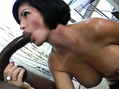 Bosomy saucy MILF blows BBC of her cute brutal guy with pleasure