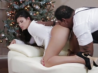 A Black Christmas Threesome for a Busty Milf.