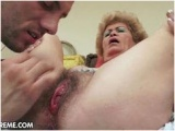 Licking granny's hairy snatch