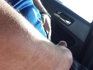 Stranger jerked in car and rub cum in my MILF pussy