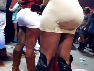 REAL BOOTY AT CONCERT. HUGE ASS IN WHITE SKIRT